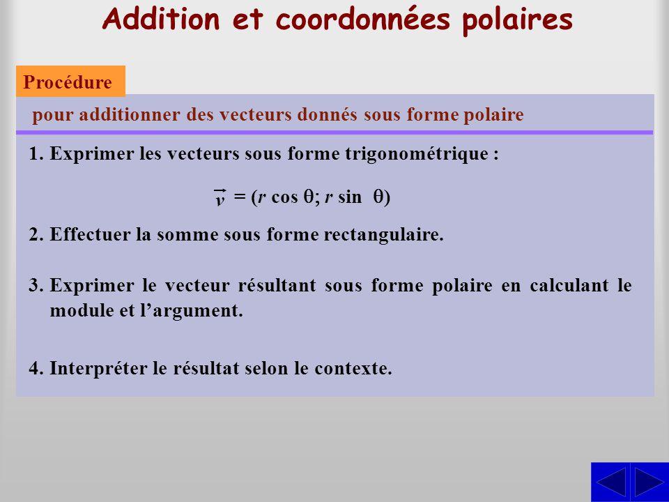 Addition et coordonnées polaires pour additionner des vecteurs donnés sous forme polaire 1.Exprimer les vecteurs sous forme trigonométrique : 2.Effect