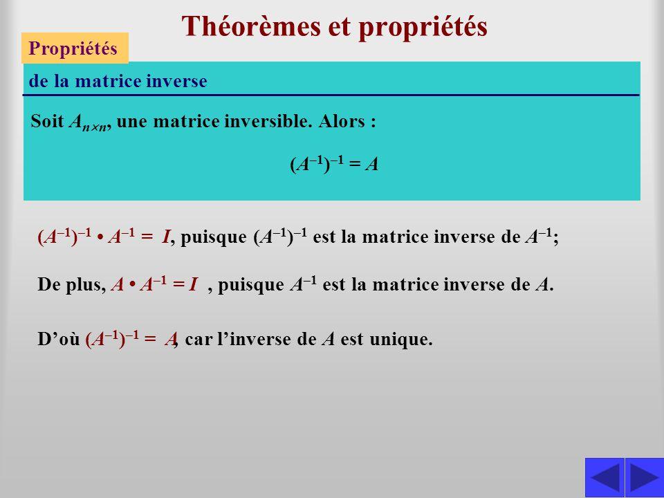 Théorèmes et propriétés Propriétés de la matrice inverse Soit A n  n, une matrice inversible. Alors : (A –1 ) –1 A –1 = I De plus, A A –1 = I, puisqu
