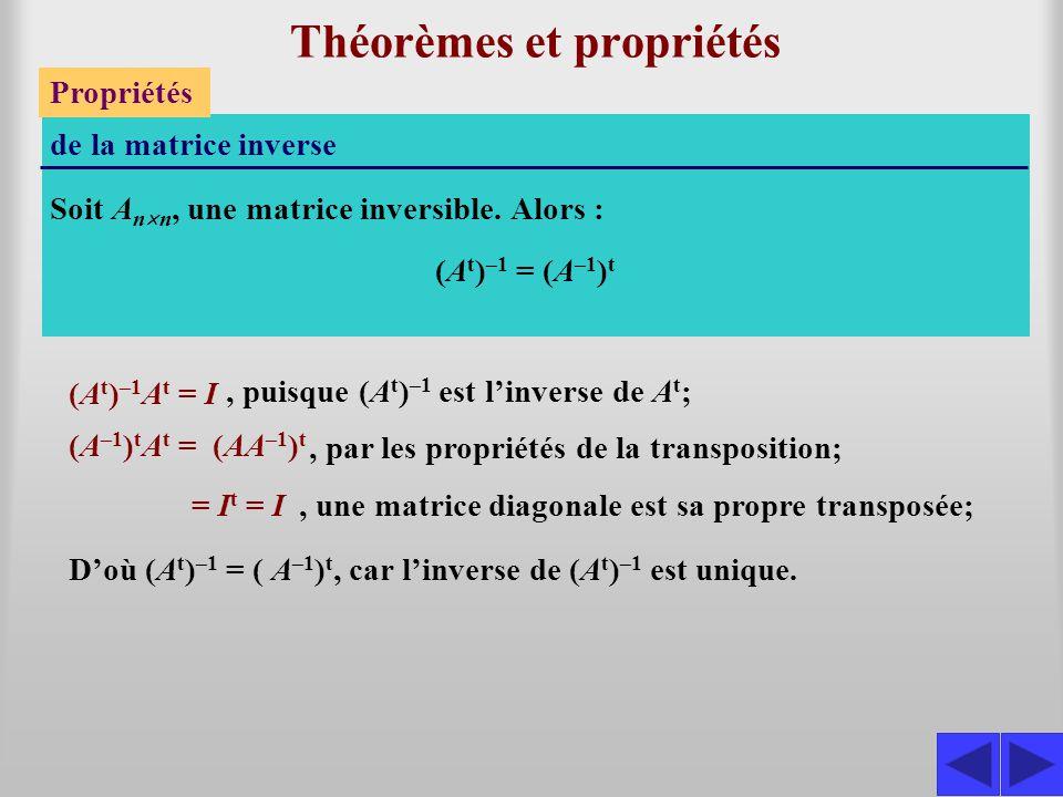 Théorèmes et propriétés Propriétés de la matrice inverse Soit A n  n, une matrice inversible. Alors : S (A t ) –1 = (A –1 ) t (A t ) –1 A t = I, puis