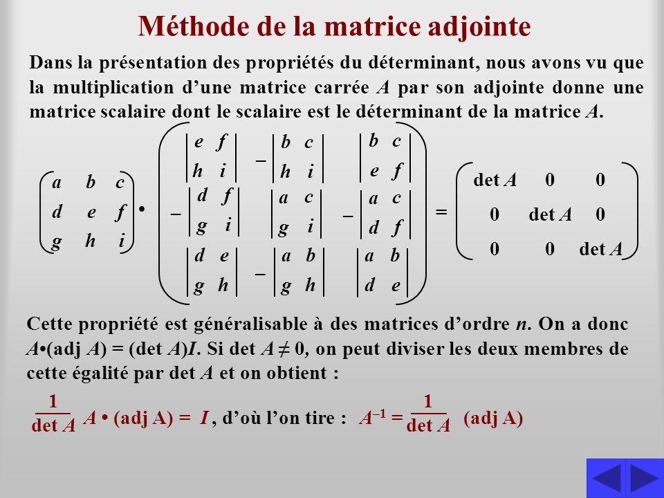 Méthode de la matrice adjointe Dans la présentation des propriétés du déterminant, nous avons vu que la multiplication d'une matrice carrée A par son