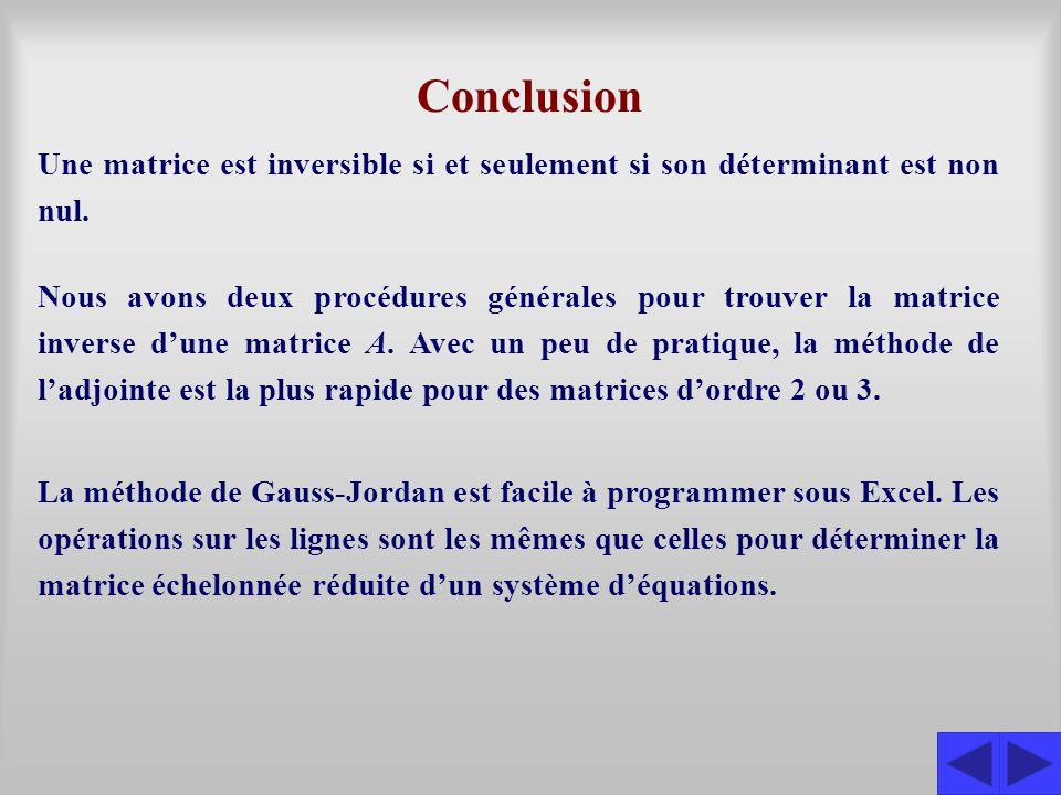 Conclusion Une matrice est inversible si et seulement si son déterminant est non nul. La méthode de Gauss-Jordan est facile à programmer sous Excel. L