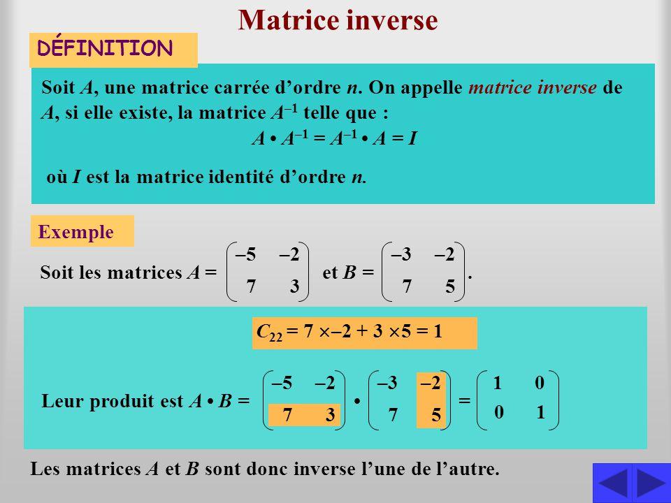 Matrice inverse DÉFINITION Soit A, une matrice carrée d'ordre n. On appelle matrice inverse de A, si elle existe, la matrice A –1 telle que : Exemple