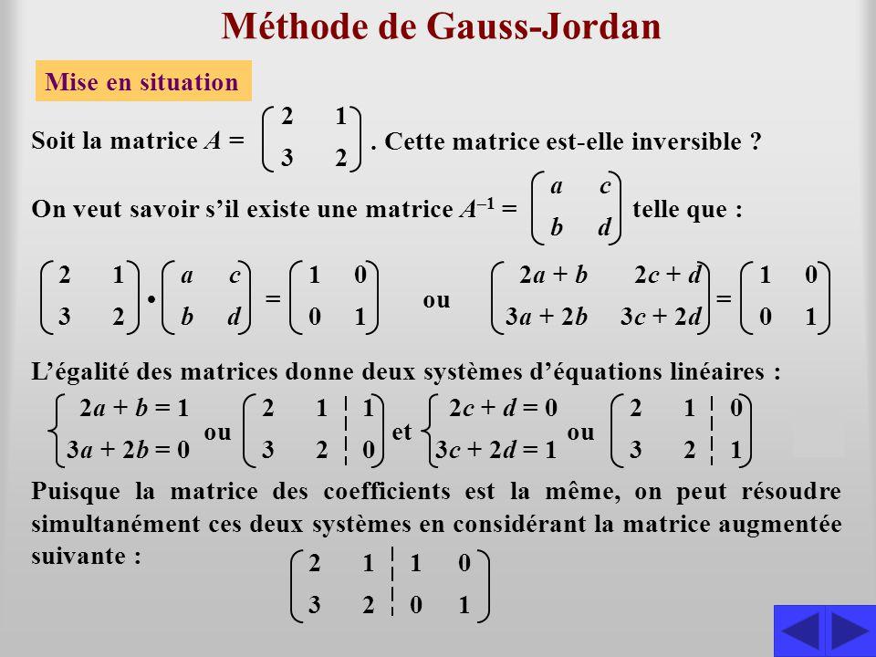 Méthode de Gauss-Jordan Mise en situation 2323 1212 Soit la matrice A =. Cette matrice est-elle inversible ? 2323 1212 abab cdcd 1010 0101 = On veut s
