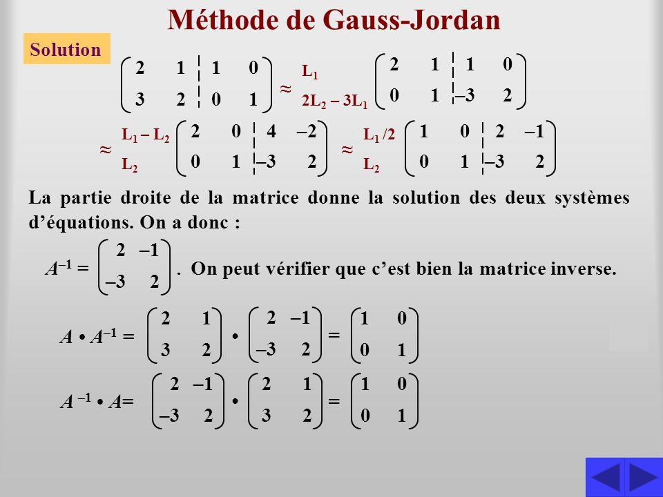 Méthode de Gauss-Jordan Solution 2323 1212 1010 0101 ≈ L 1 2L 2 – 3L 1 2110 ≈ L 1 – L 2 L 2 204–2 ≈ L 1 /2 L 2 102–1 SSS La partie droite de la matric