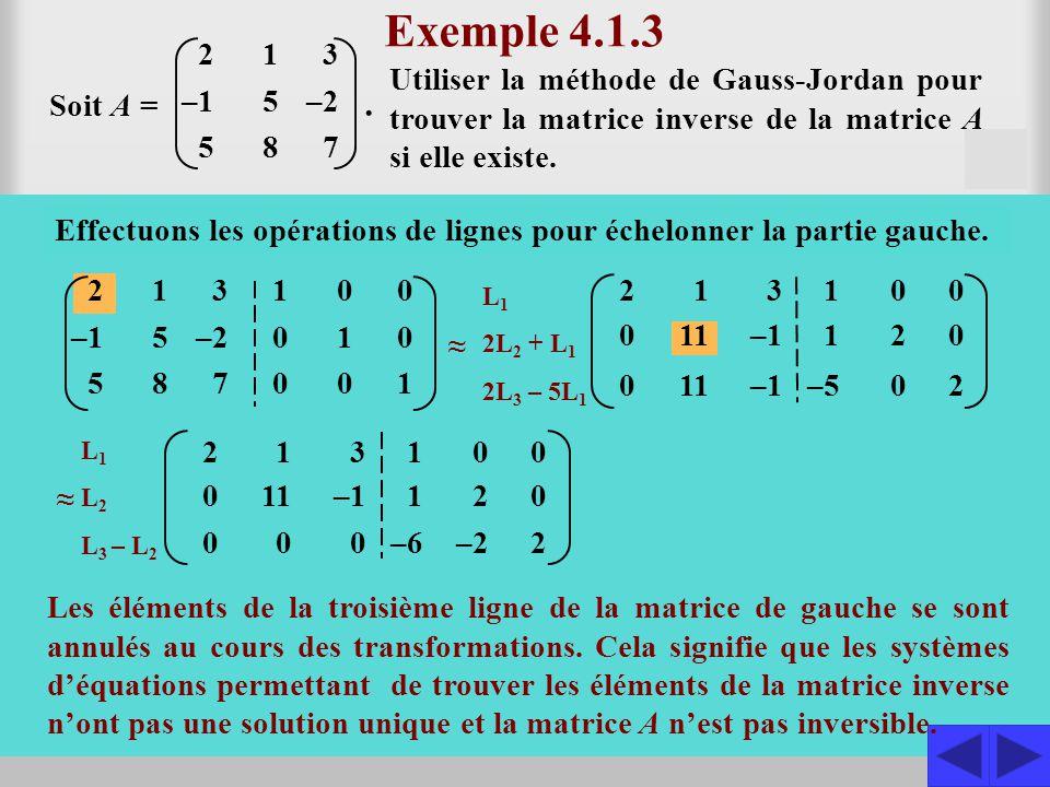 2 –1 5 1 5 8 3 –2 7 Exemple 4.1.3 Utiliser la méthode de Gauss-Jordan pour trouver la matrice inverse de la matrice A si elle existe. Soit A = S Const