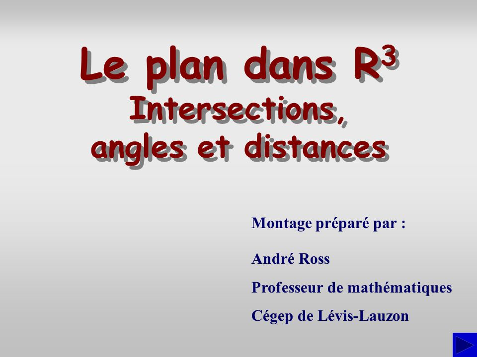 Montage préparé par : André Ross Professeur de mathématiques Cégep de Lévis-Lauzon Le plan dans R 3 Intersections, angles et distances Le plan dans R3R3 Intersections, angles et distances
