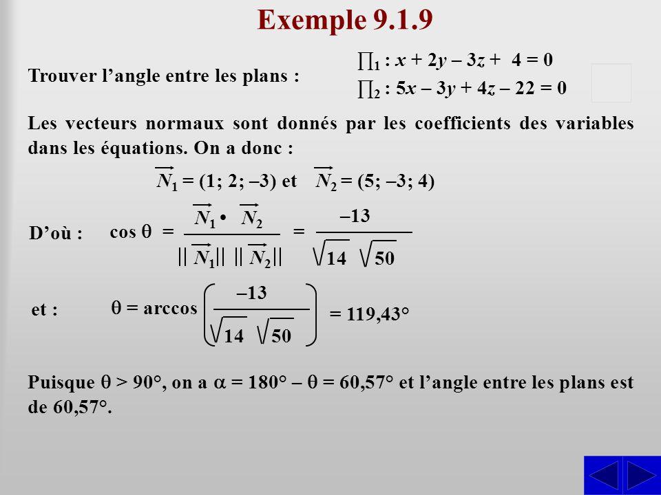 Exemple 9.1.9 S D'où : Puisque  > 90°, on a  = 180° –  = 60,57° et l'angle entre les plans est de 60,57°. Les vecteurs normaux sont donnés par les