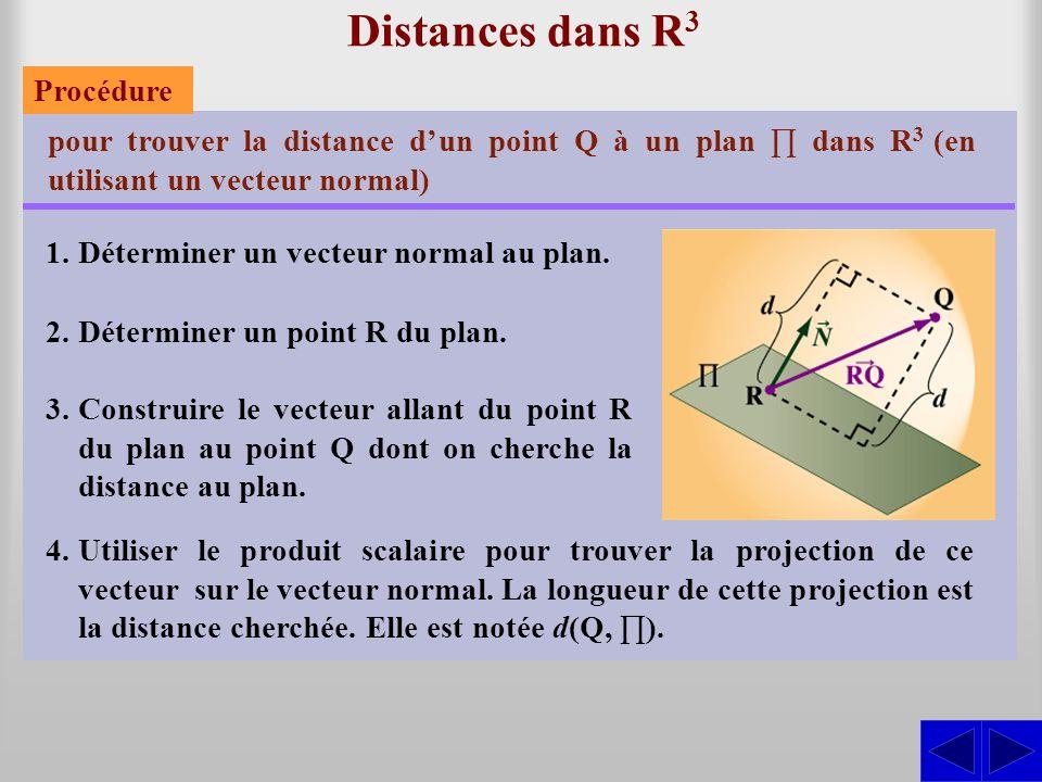 Distances dans R 3 pour trouver la distance d'un point Q à un plan ∏ dans R 3 (en utilisant un vecteur normal) 1.Déterminer un vecteur normal au plan.