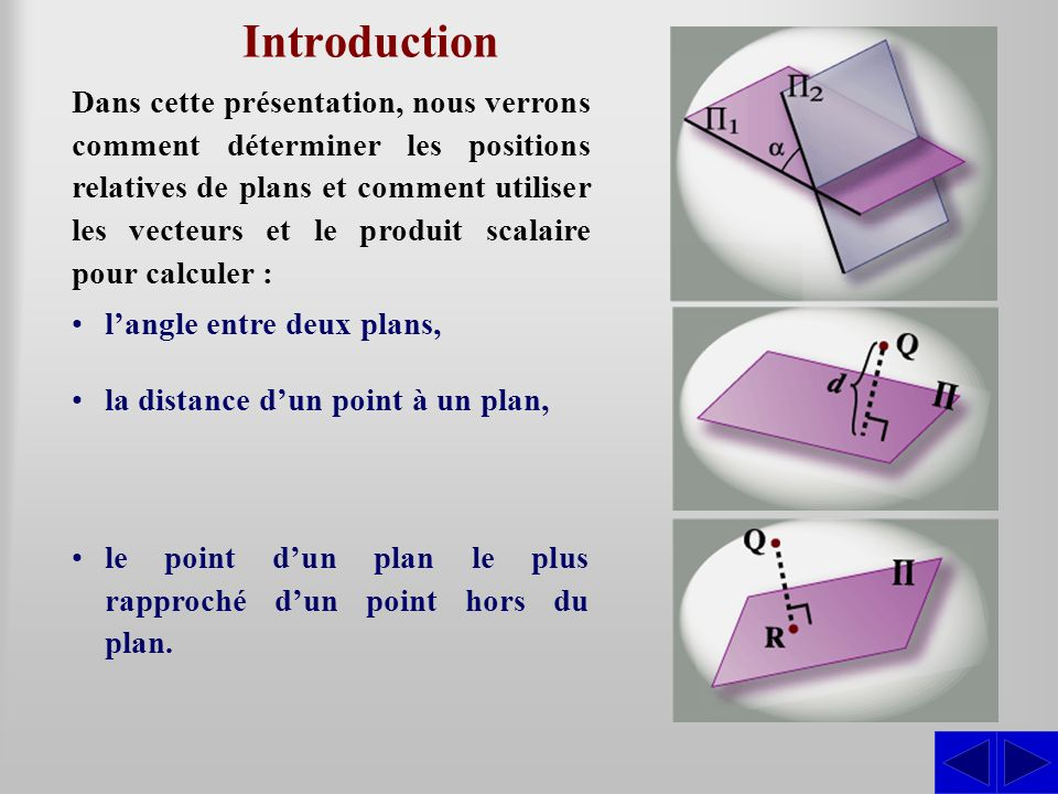 Introduction Dans cette présentation, nous verrons comment déterminer les positions relatives de plans et comment utiliser les vecteurs et le produit