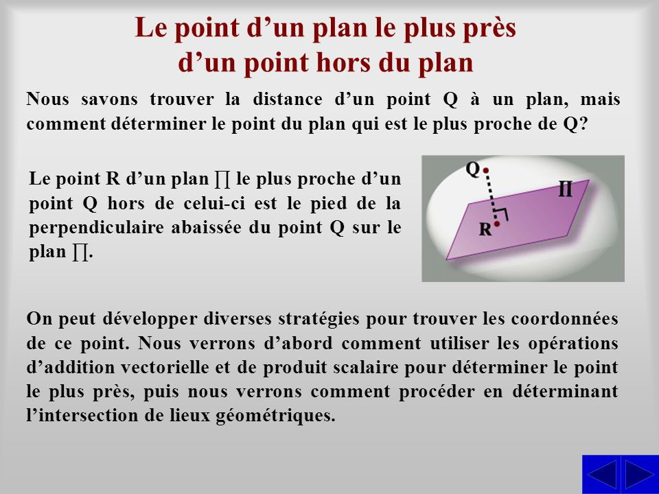 Le point d'un plan le plus près d'un point hors du plan Nous savons trouver la distance d'un point Q à un plan, mais comment déterminer le point du pl