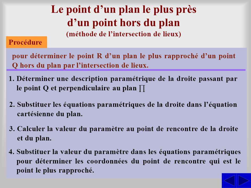 Le point d'un plan le plus près d'un point hors du plan (méthode de l'intersection de lieux) pour déterminer le point R d'un plan le plus rapproché d'