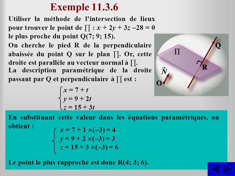 Exemple 11.3.6 En substituant ces équations paramétriques dans l'équation du plan ∏, on obtient : S S La description paramétrique de la droite passant