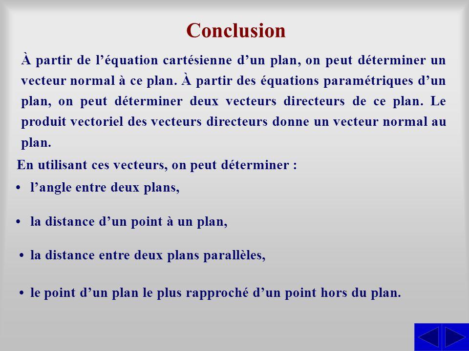 Conclusion À partir de l'équation cartésienne d'un plan, on peut déterminer un vecteur normal à ce plan. À partir des équations paramétriques d'un pla