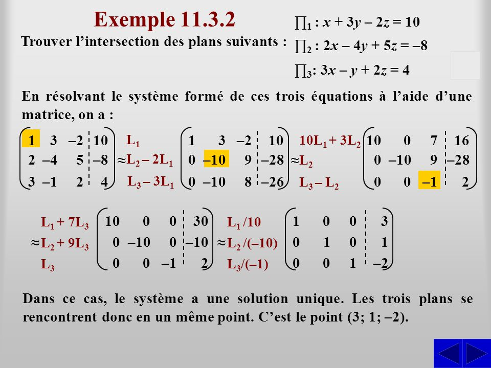–10 Exemple 11.3.2 Trouver l'intersection des plans suivants : En résolvant le système formé de ces trois équations à l'aide d'une matrice, on a : ∏ 1
