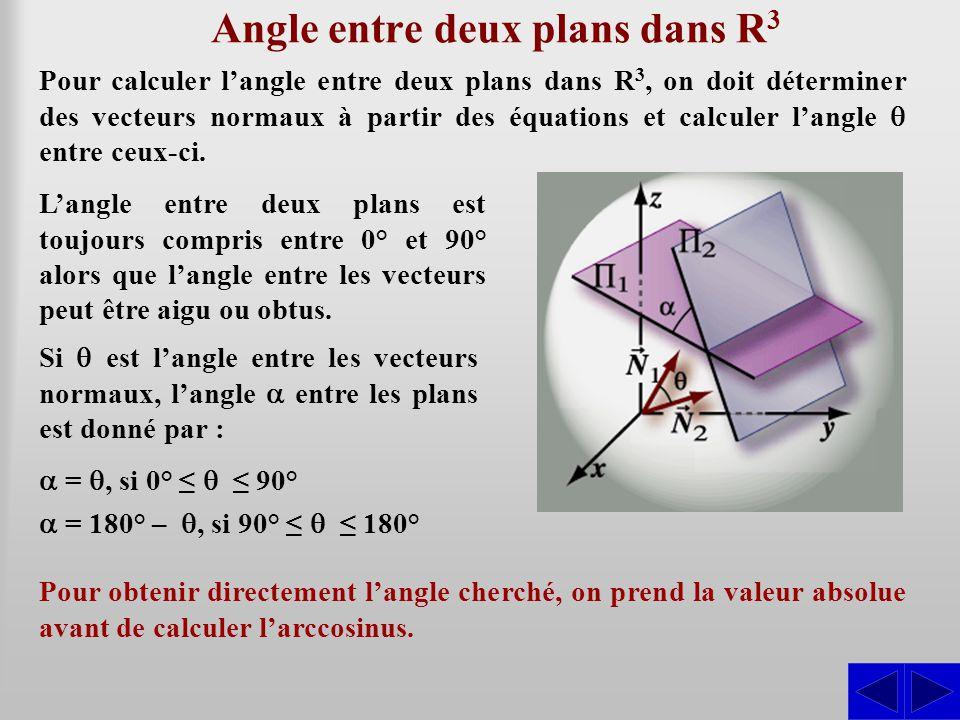 Angle entre deux plans dans R 3 Pour calculer l'angle entre deux plans dans R 3, on doit déterminer des vecteurs normaux à partir des équations et cal