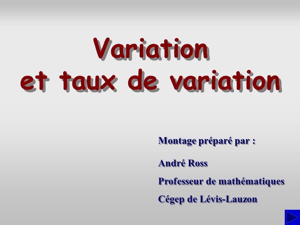 Montage préparé par : André Ross Professeur de mathématiques Cégep de Lévis-Lauzon André Ross Professeur de mathématiques Cégep de Lévis-Lauzon Variat