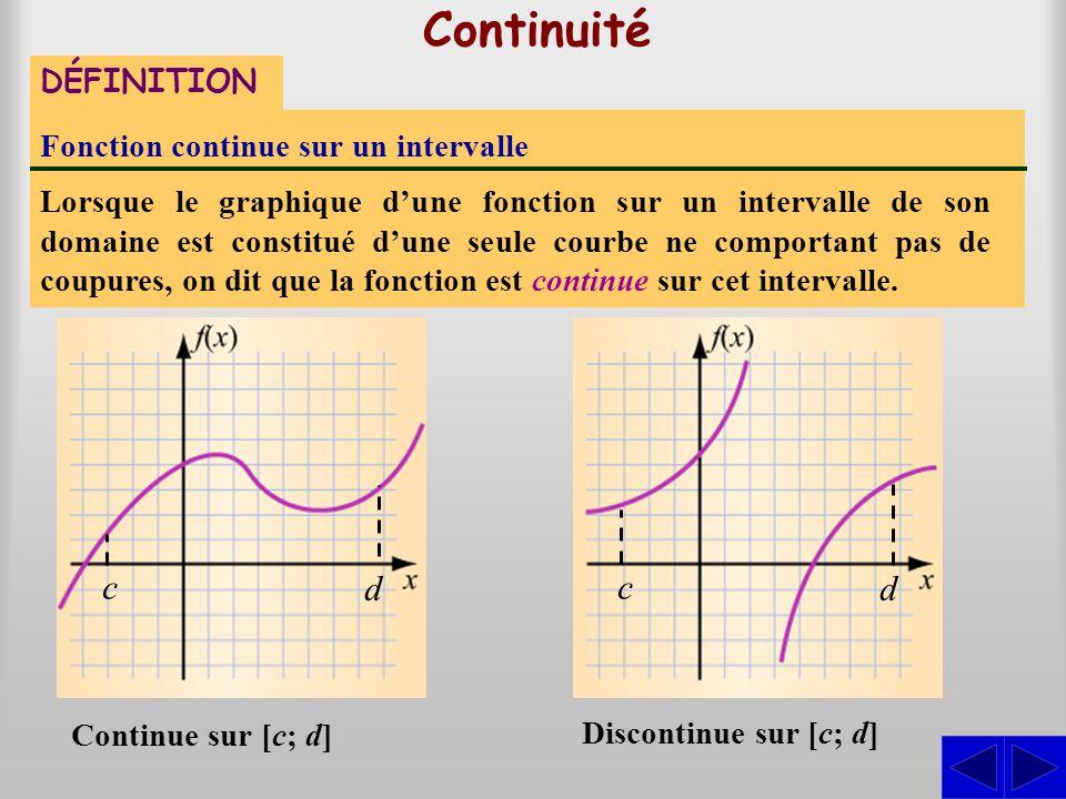 Continuité DÉFINITION Fonction continue sur un intervalle Lorsque le graphique d'une fonction sur un intervalle de son domaine est constitué d'une seu