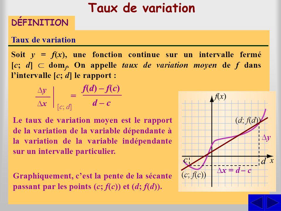 Taux de variation DÉFINITION Taux de variation Soit y = f(x), une fonction continue sur un intervalle fermé [c; d]  dom f. On appelle taux de variat