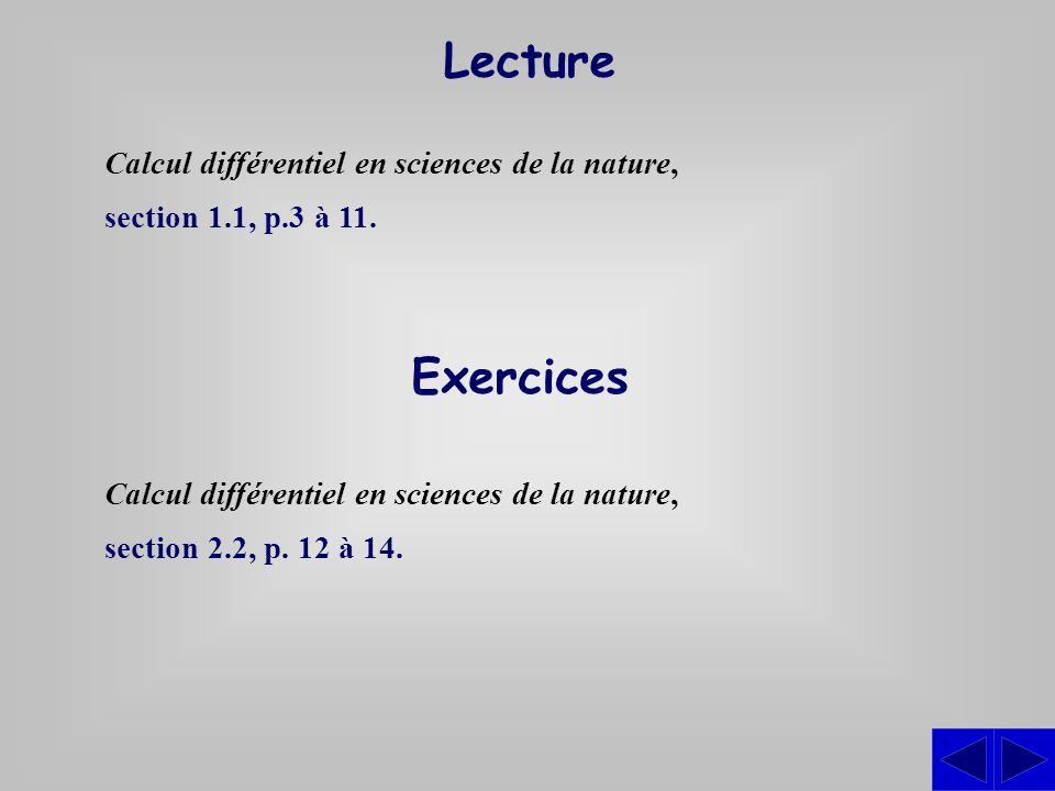 Exercices Calcul différentiel en sciences de la nature, section 2.2, p. 12 à 14. Lecture Calcul différentiel en sciences de la nature, section 1.1, p.