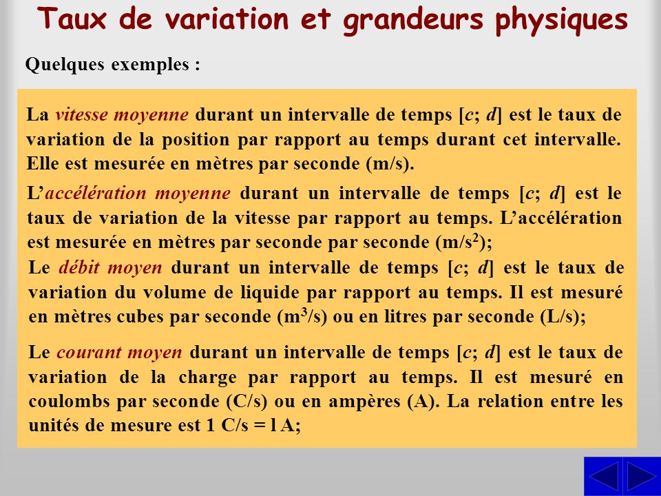 Taux de variation et grandeurs physiques La vitesse moyenne durant un intervalle de temps [c; d] est le taux de variation de la position par rapport a