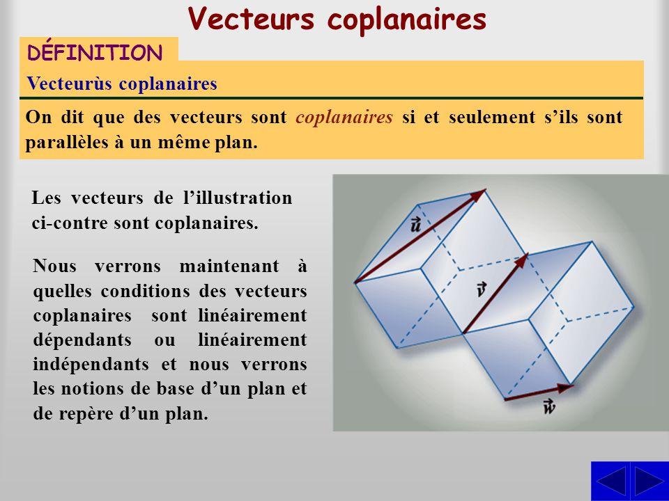 Vecteurs coplanaires Les vecteurs de l'illustration ci-contre sont coplanaires. DÉFINITION Vecteurùs coplanaires On dit que des vecteurs sont coplanai