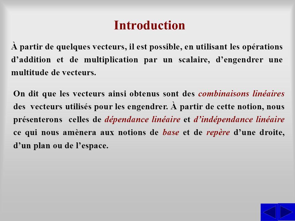 À partir de quelques vecteurs, il est possible, en utilisant les opérations d'addition et de multiplication par un scalaire, d'engendrer une multitude