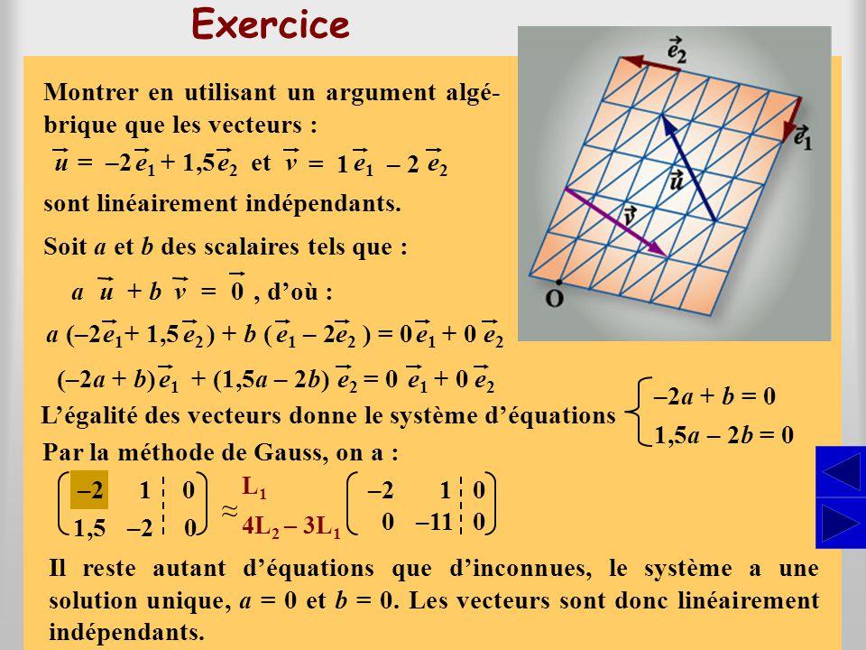 SSSS Exercice }, un repère du plan ∏.Soit {O, e1e1 e2e2, Par l'addition des vecteurs, on a : et Donner, dans ce repère, les composantes des vecteurs u