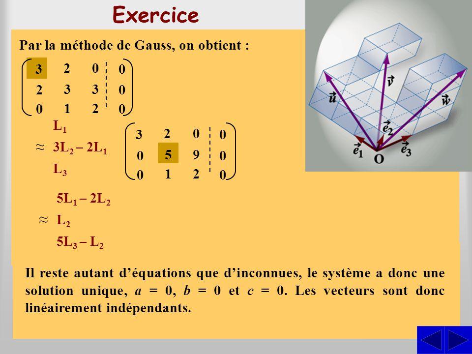 Exercice S Exprimer les vecteursdans la base du repère }.e1e1 e2e2,e3e3,{O, u,u,vetw ve1e1 e2e2 + 3+ 1= 2e3e3 e1e1 e2e2 + 2e3e3 + 0= 3u, w e1e1 e2e2 +