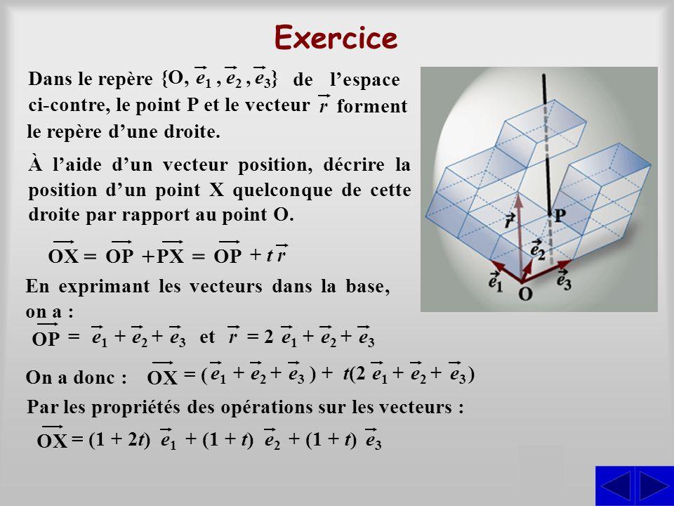 Exercice Dans le repère }e1e1 e2e2,e3e3,{O, de l'espace ci-contre, le point P et le vecteur forment le repère d'une droite. r OX = OP + PX = OP + t r
