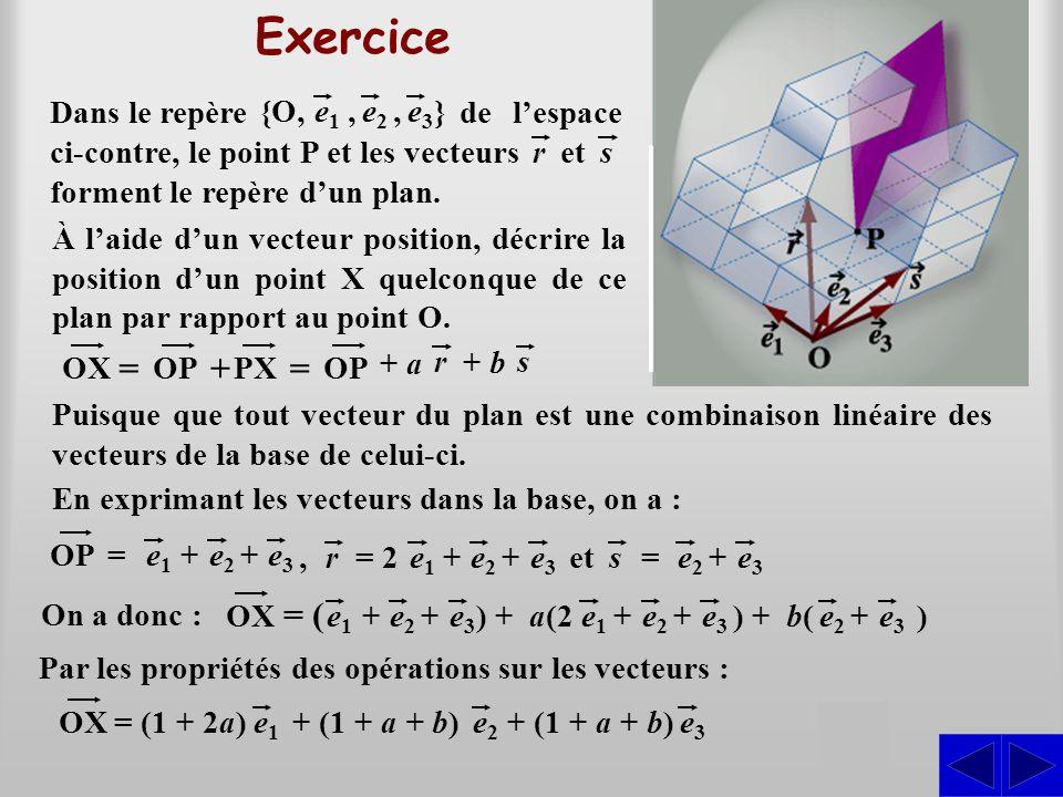 Exercice En exprimant les vecteurs dans la base, on a : OP=e1e1 e2e2 +e3e3 +,e1e1 e2e2 +e3e3 += 2r On a donc : Par les propriétés des opérations sur l