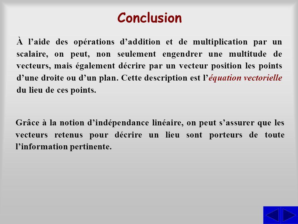 Conclusion À l'aide des opérations d'addition et de multiplication par un scalaire, on peut, non seulement engendrer une multitude de vecteurs, mais é