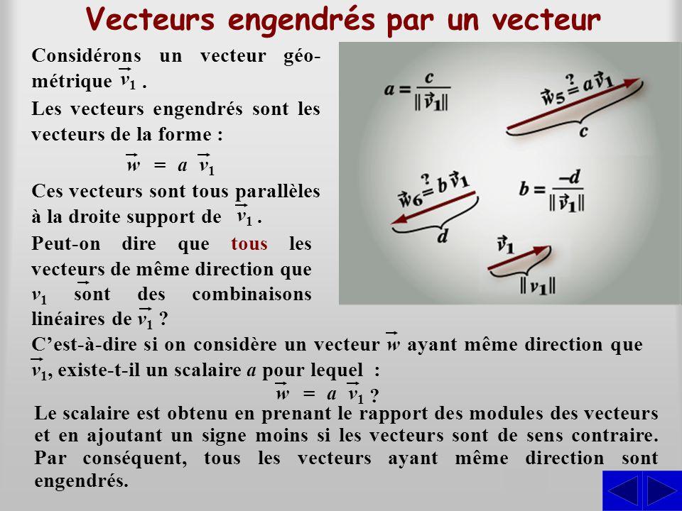 Vecteurs engendrés par un vecteur Les vecteurs engendrés sont les vecteurs de la forme : w = av1v1 v1v1. Ces vecteurs sont tous parallèles à la droite