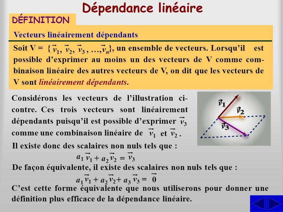 Dépendance linéaire DÉFINITION Vecteurs linéairement dépendants Lorsqu'il est possible d'exprimer au moins un des vecteurs de V comme com- binaison li