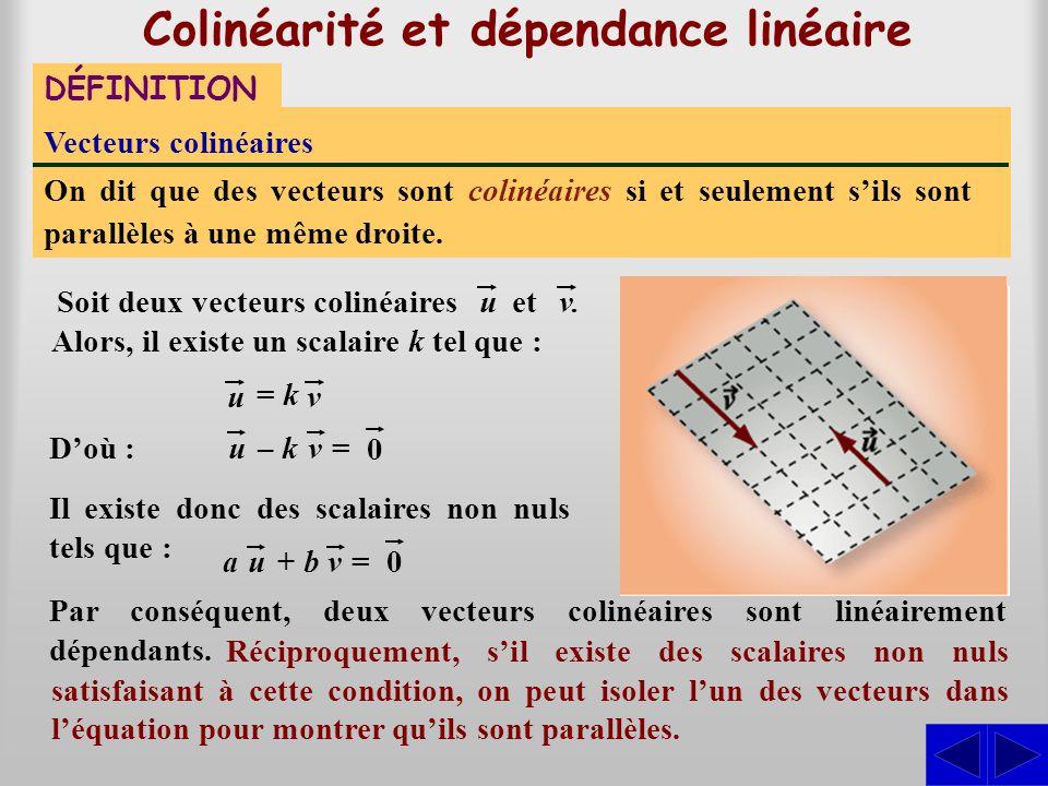 Colinéarité et dépendance linéaire DÉFINITION Vecteurs colinéaires On dit que des vecteurs sont colinéaires si et seulement s'ils sont parallèles à un