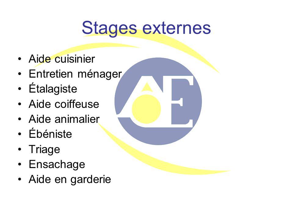 Stages externes Aide cuisinier Entretien ménager Étalagiste Aide coiffeuse Aide animalier Ébéniste Triage Ensachage Aide en garderie