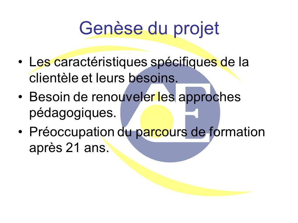 Genèse du projet Les caractéristiques spécifiques de la clientèle et leurs besoins. Besoin de renouveler les approches pédagogiques. Préoccupation du