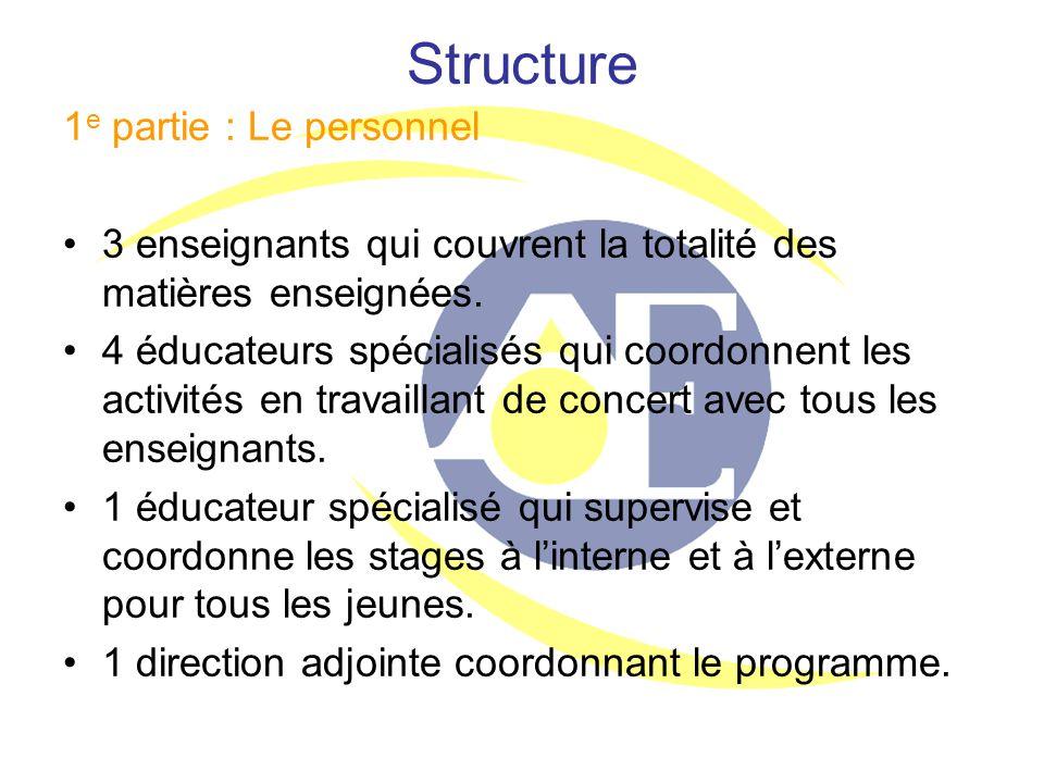 Structure 1 e partie : Le personnel 3 enseignants qui couvrent la totalité des matières enseignées. 4 éducateurs spécialisés qui coordonnent les activ