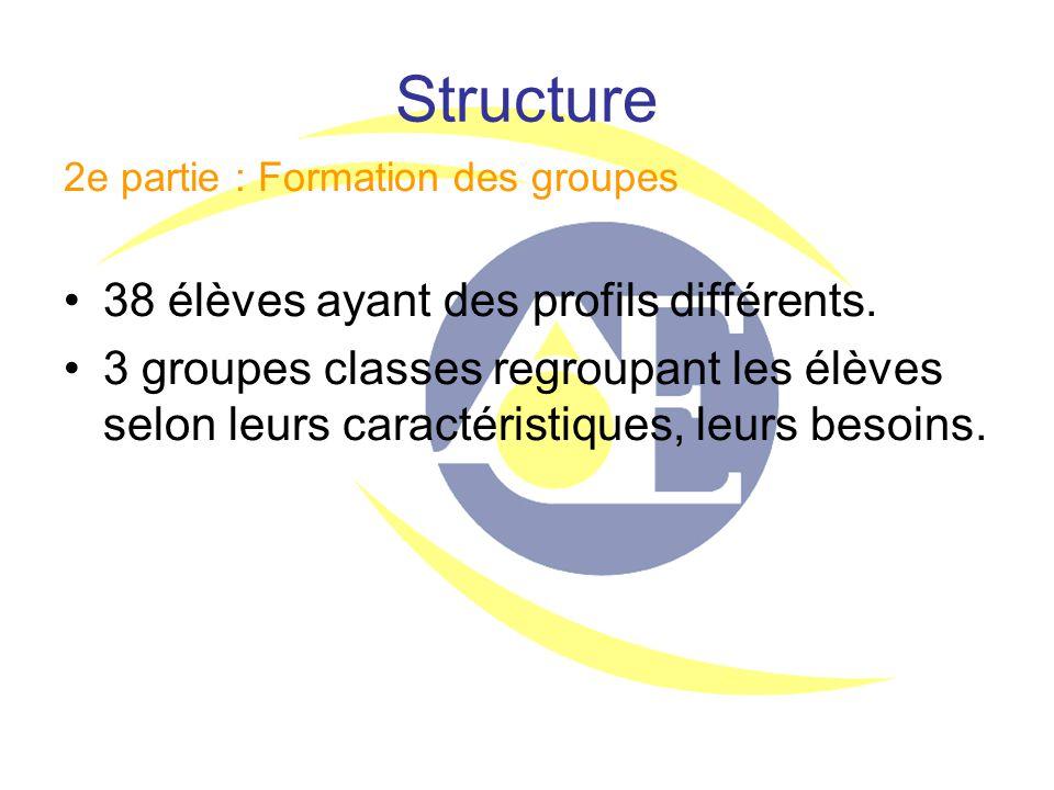 Structure 2e partie : Formation des groupes 38 élèves ayant des profils différents. 3 groupes classes regroupant les élèves selon leurs caractéristiqu