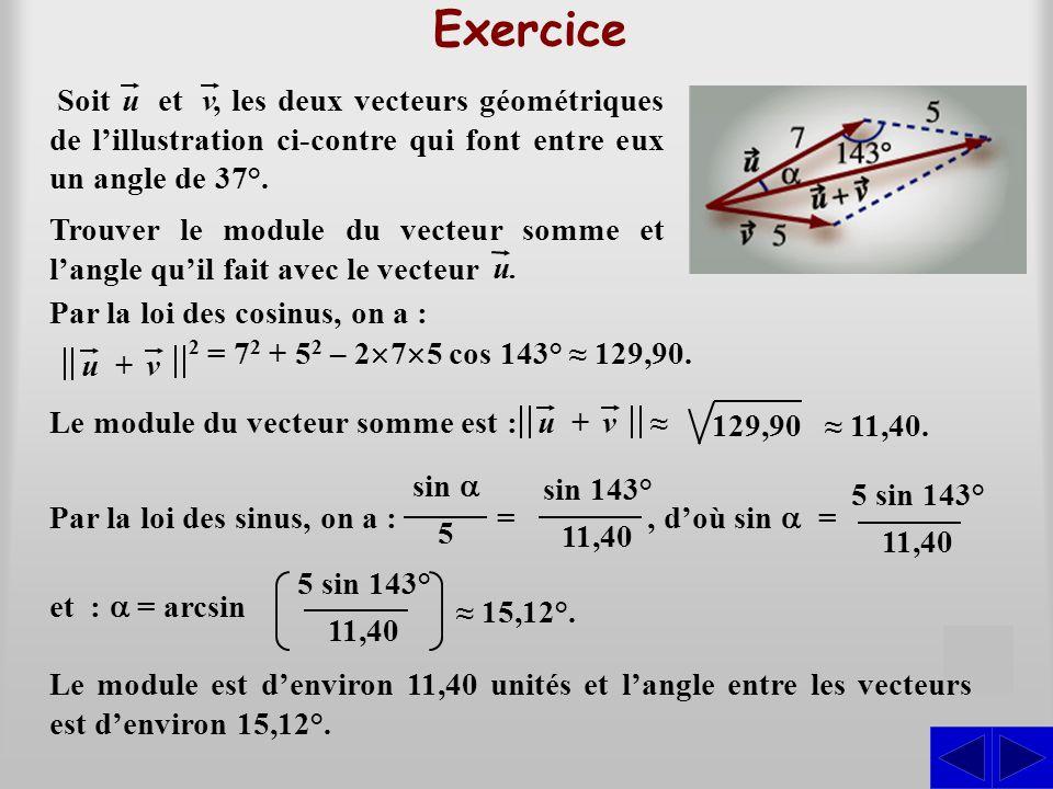 Exercice, les deux vecteurs géométriques de l'illustration ci-contre qui font entre eux un angle de 37°. Soituetv Par la loi des cosinus, on a : u+v 2