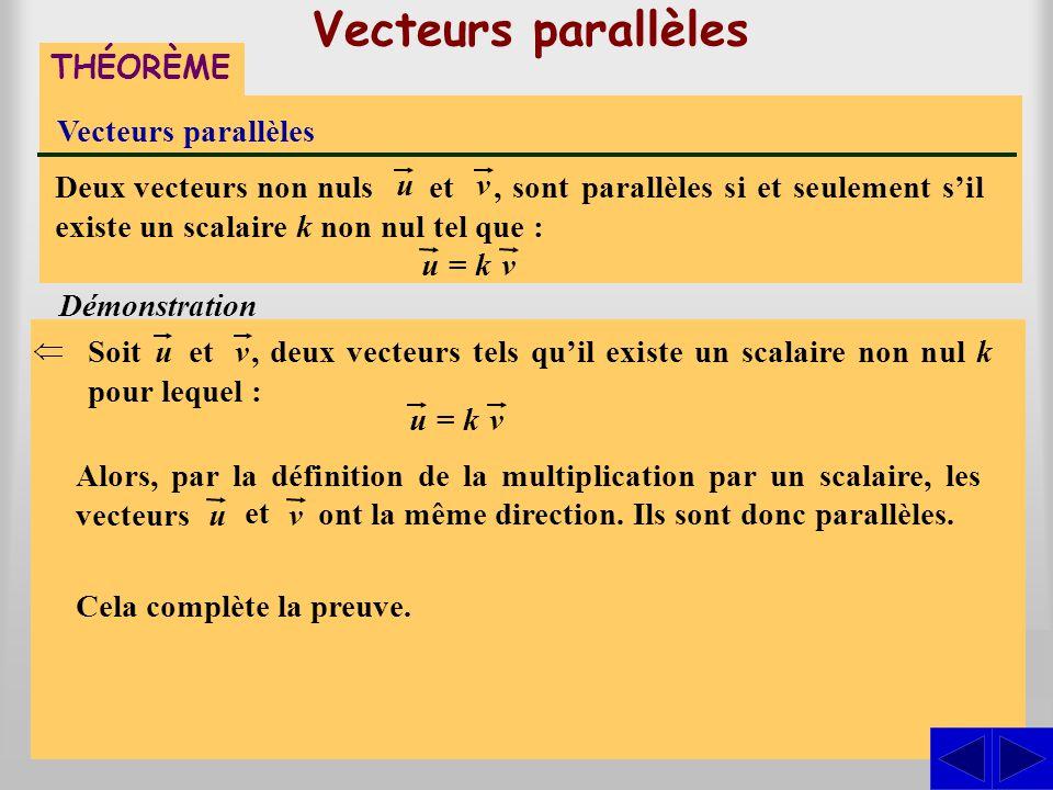 Vecteurs parallèles THÉORÈME Vecteurs parallèles, sont parallèles si et seulement s'il existe un scalaire k non nul tel que : Deux vecteurs non nuls u