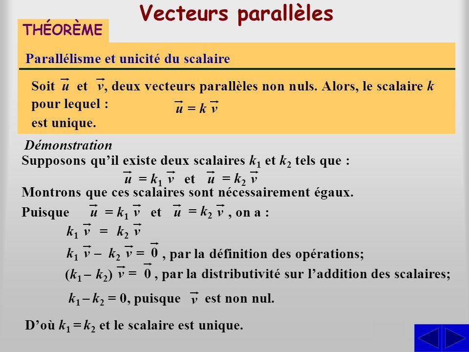 Vecteurs parallèles THÉORÈME Parallélisme et unicité du scalaire Supposons qu'il existe deux scalaires k 1 et k 2 tels que : Démonstration S, deux vec
