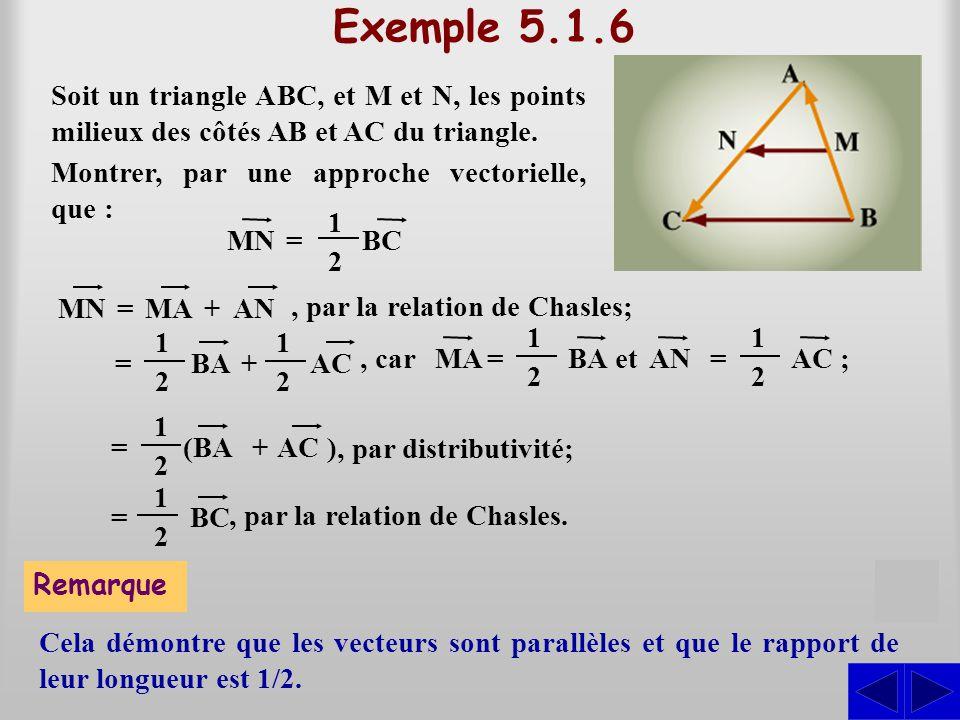 Exemple 5.1.6 Soit un triangle ABC, et M et N, les points milieux des côtés AB et AC du triangle. S MNBC= 1212 MN=MA+AN, par la relation de Chasles; =