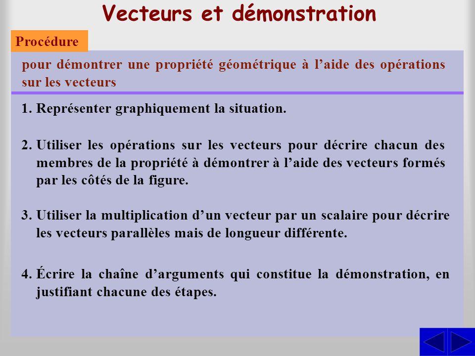 Vecteurs et démonstration pour démontrer une propriété géométrique à l'aide des opérations sur les vecteurs 1.Représenter graphiquement la situation.