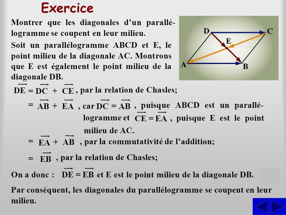 Exercice DE =DC+ CE, par la relation de Chasles; = AB EA + Montrer que les diagonales d'un parallé- logramme se coupent en leur milieu. = EA AB+, puis