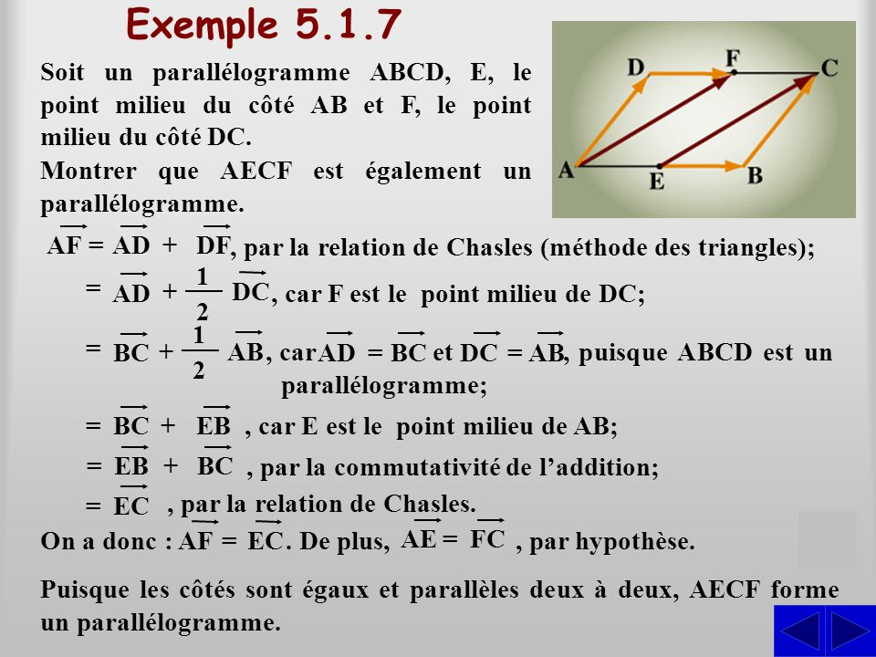 Exemple 5.1.7 Soit un parallélogramme ABCD, E, le point milieu du côté AB et F, le point milieu du côté DC. AF= AD+ DF, par la relation de Chasles (mé