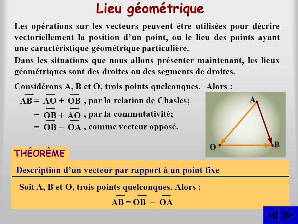 Lieu géométrique Les opérations sur les vecteurs peuvent être utilisées pour décrire vectoriellement la position d'un point, ou le lieu des points aya