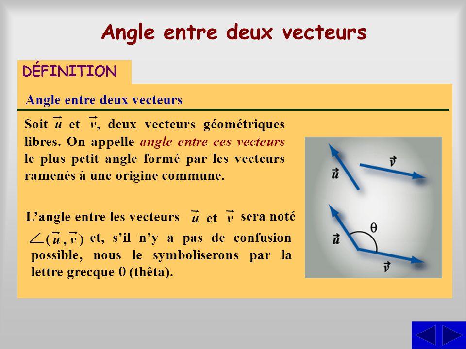 sera noté, deux vecteurs géométriques libres. On appelle angle entre ces vecteurs le plus petit angle formé par les vecteurs ramenés à une origine com