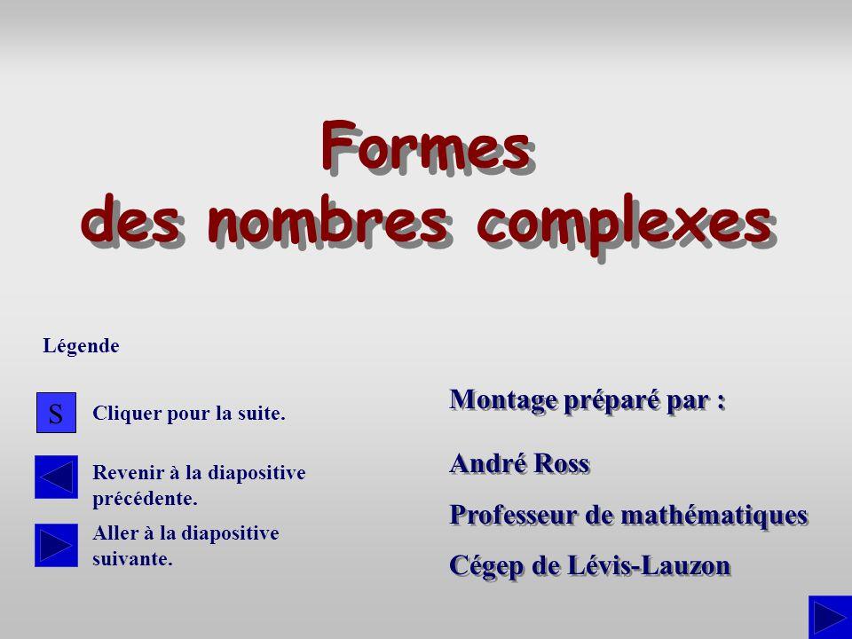 Montage préparé par : André Ross Professeur de mathématiques Cégep de Lévis-Lauzon André Ross Professeur de mathématiques Cégep de Lévis-Lauzon Formes