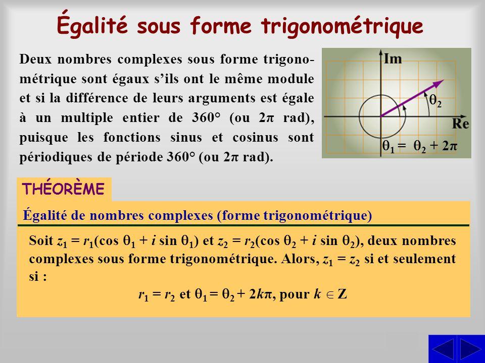 Égalité sous forme trigonométrique S Égalité de nombres complexes (forme trigonométrique) Soit z1 z1 = r 1 (cos  1 + i sin  1 ) et z 2 = r 2 (cos 