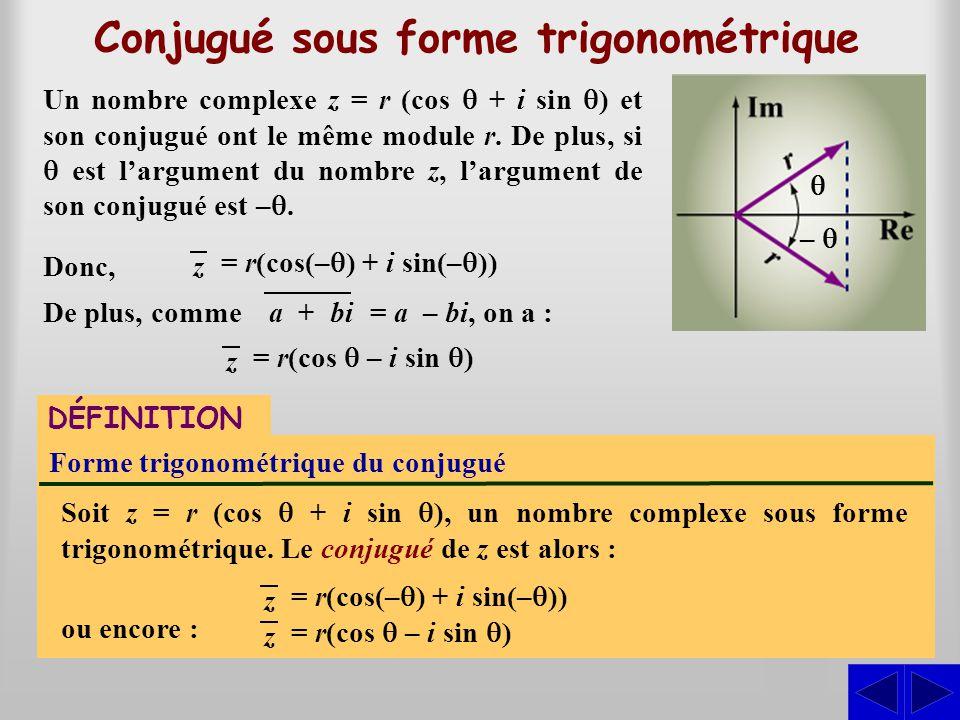 Un nombre complexe z = r (cos  + i sin  ) et son conjugué ont le même module r. De plus, si  est l'argument du nombre z, l'argument de son conjugué